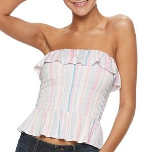 NWT Striped Ruffle Crop Tube Top Candie's Size S